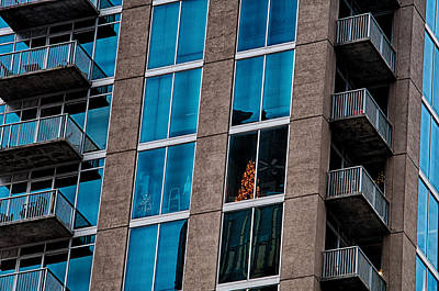 Chrastmas Tree Seen In An Apartment Of A Skyscraper Condo Buildi Poster by Alex Grichenko
