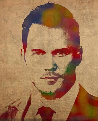 Chris Pratt Movie Actor Watercolor Portrait Poster