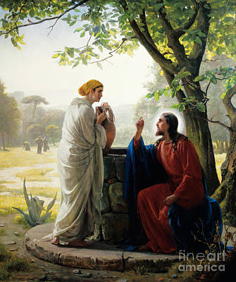 Christ And The Samaritan Woman Poster by Celestial Images