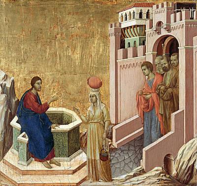 Christ And The Samaritan Woman Poster by Duccio