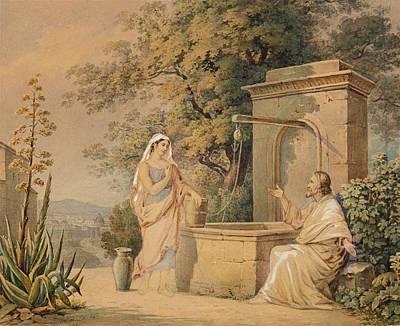 Christ And The Samaritan Woman Poster by Friedrich Wilhelm