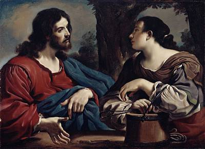 Christ And The Woman Of Samaria Poster by Giovanni Francesco Barbieri Guercino