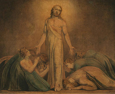 Christ Appearing To The Apostles After The Resurrection Poster by William Blake