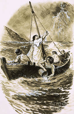 Christ Calming The Storm Poster by Clive Uptton