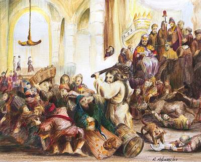 Christ Driving Out The Money Changers Poster by Rick Ahlvers
