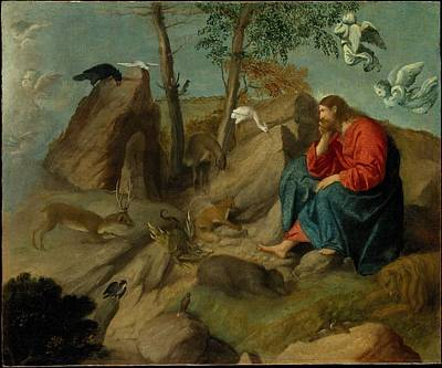 Christ In The Wilderness Moretto Da Brescia Alessandro Bonvicino Poster by Celestial Images