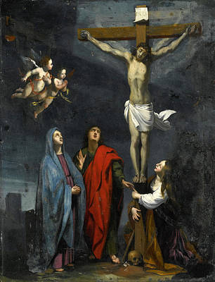 Christ On The Cross With Saint John And Mary Magdalene Poster by Follower of Jacques Stella