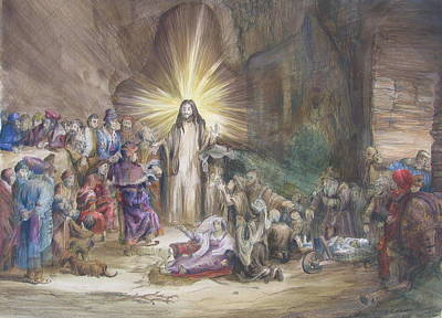 Poster featuring the painting Christ Preaching          by Rick Ahlvers