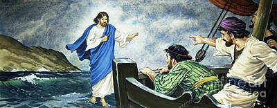 Christ Walking On The Water Poster by English School