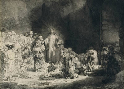 Christ With The Sick Around Him, Receiving Little Children Poster by Rembrandt