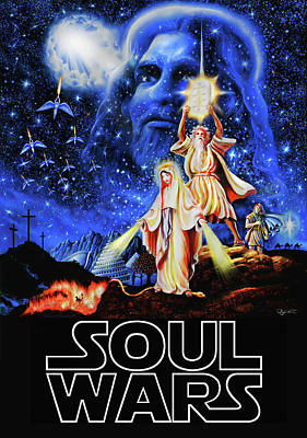 Poster featuring the painting Christian Star Wars Parody - Soul Wars by Dave Luebbert