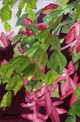 Poster featuring the painting Christmas Cactus by Lynne Reichhart