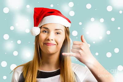 Christmas Calling Girl Poster by Jorgo Photography - Wall Art Gallery