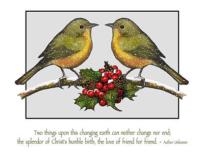 Christmas Card Birds And Friendship Poster