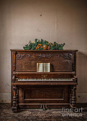 Poster featuring the photograph Christmas Card With Piano In Old Church by T Lowry Wilson