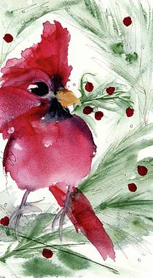 Poster featuring the painting Christmas Cardinal by Dawn Derman