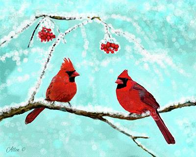 Poster featuring the painting Christmas Cardinals by Leslie Allen