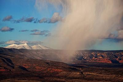 Poster featuring the photograph Christmas Day Snow Mix San Francisco Peaks by Ron Chilston