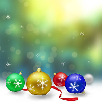 Christmas Decoration With Snow And Bokeh Poster by Miroslav Nemecek