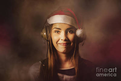 Poster featuring the photograph Christmas Disco Dj Woman by Jorgo Photography - Wall Art Gallery