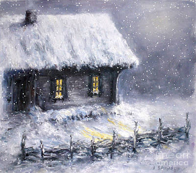 Poster featuring the painting Christmas Eve by Arturas Slapsys