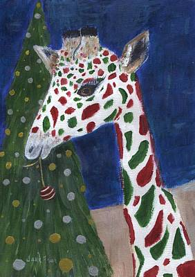 Poster featuring the painting Christmas Giraffe by Jamie Frier