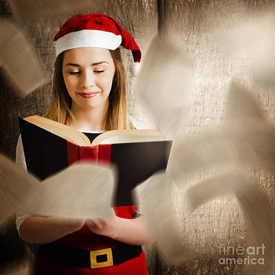 Christmas Girl Reading Open Story Book Poster