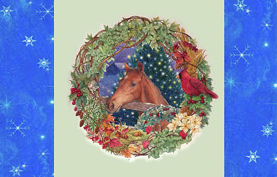 Christmas Horse And Holiday Wreath Poster