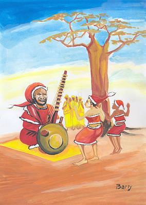 Poster featuring the painting Christmas In Senegal by Emmanuel Baliyanga