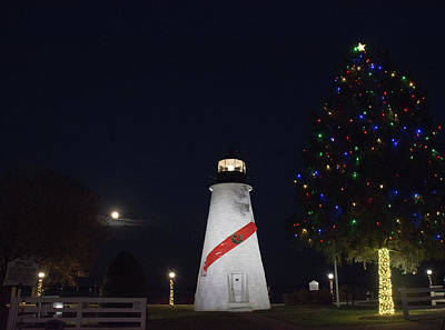 Christmas Lighthouse Poster