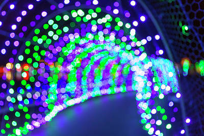 Christmas Lights Decoration Blurred Defocused Bokeh Poster