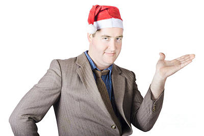 Christmas Man Showing Copyspace Gifts And Presents Poster