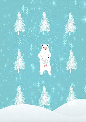 Christmas Morning Bear Poster by Amanda Lakey