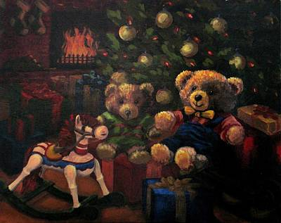 Poster featuring the painting Christmas Past by Karen Ilari