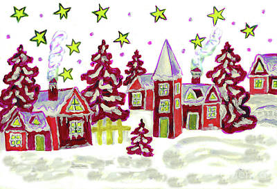 Christmas Picture In Red Poster by Irina Afonskaya