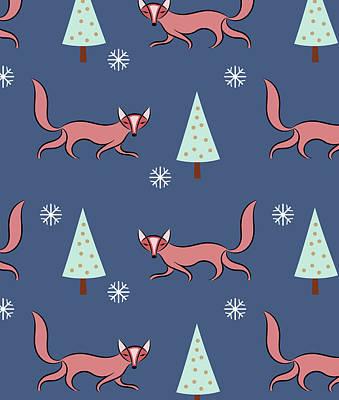 Christmas Red Fox Pattern Poster by Uma Gokhale