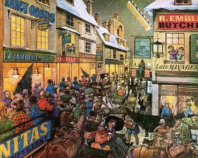 Christmas Shopping In Victorian Times Poster by Richard Hook