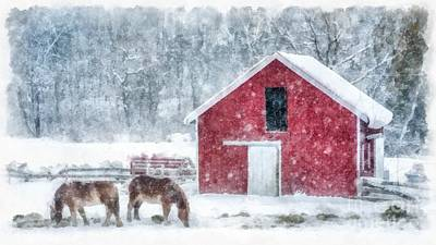 Christmas Snowstorm Vermont Watercolor Poster by Edward Fielding