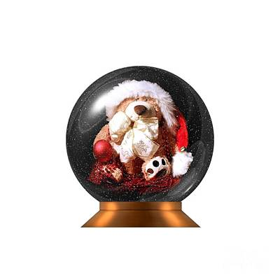 Christmas Teddy Snow Globe On A Transparent Background Poster