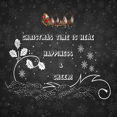 Christmas Time Is Here Chalkboard Artwork Poster by Georgeta Blanaru
