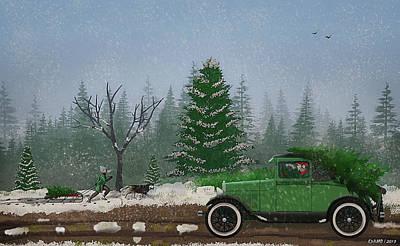 Christmas Tree Hunters Poster by Ken Morris