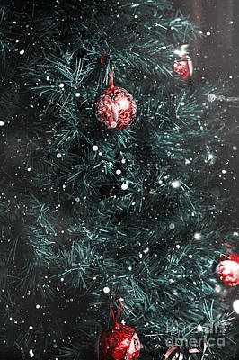 Christmas Tree In Winter Snow. Card Background Poster