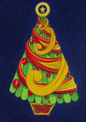 Poster featuring the drawing Christmas Tree No. Three by Rick Ahlvers