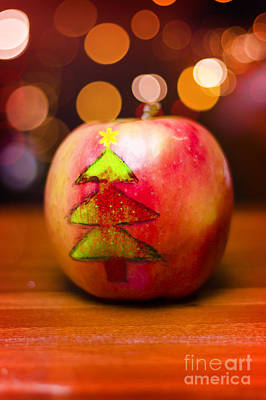 Christmas Tree Painted On Apple Decoration Poster