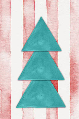 Christmas Tree Watercolor Poster by Nordic Print Studio