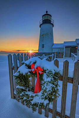 Christmas Wreath And Pemaquid Point Poster
