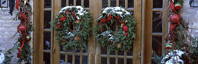Christmas Wreaths Hanging On Doors Poster