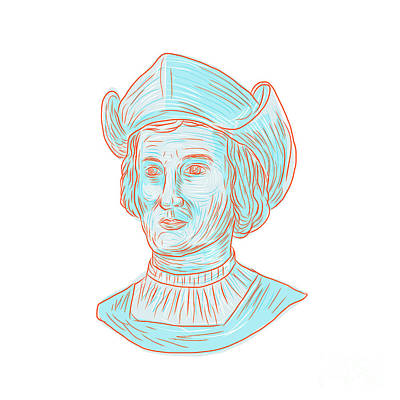 Christopher Colombus Explorer Bust Drawing Poster
