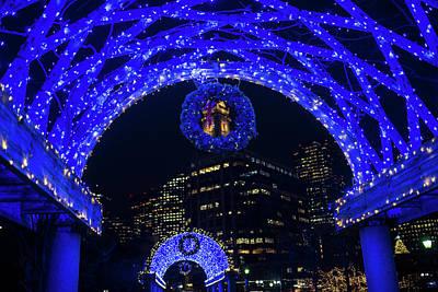 Christopher Columbus Park Trellis Lit Up For Christmas Boston Ma Poster