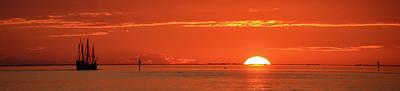 Christopher Columbus Sailing Ship Nina Sails Off Into The Sunset Panoramic Poster